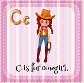picture of cowgirl  - Flashcard letter C is for cowgirl - JPG