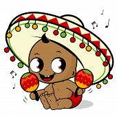 stock photo of maracas  - Vector Illustration of  a happy mariachi baby boy playing the maracas and singing - JPG