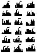 image of pipeline  - Industrial buildings black silhouettes with storage tanks and pipelines isolated on white background for heavy industry or ecology design - JPG