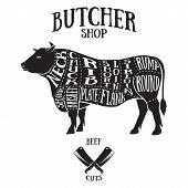 pic of beef shank  - Butcher cuts scheme of beef - JPG