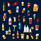 stock photo of alcoholic drinks  - Beverages or drinks non alcoholic and alcoholic drinks with bottles of water - JPG