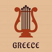 image of musical instrument string  - Ancient greek classic lyre icon in flat style showing musical string instrument with caption Greece below - JPG