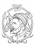 picture of tobacco-pipe  - Hand drawn portrait of bearded and tattooed lumberjack with tobacco pipe - JPG