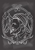 pic of tobacco-pipe  - Hand drawn portrait of bearded and tattooed lumberjack with tobacco pipe - JPG