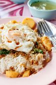 picture of stir fry  - Fried Stir Basil with Minced pork and tofu with fried egg - JPG