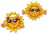 stock photo of open arms  - Smiling summer suns cartoon characters in sunglasses with welcome open arms for leisure and travel design - JPG