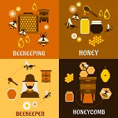picture of honey bee hive  - Honey and beekeeping industry design with beekeeper - JPG