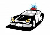 pic of police  - Black and white police car cartoon character with flashing siren and police sign on the roof for justice design - JPG