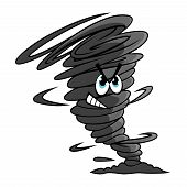 picture of windy weather  - Danger dark gray tornado funnel cartoon character encircled by a cloud of dust at the narrow end for weather or mascot design - JPG