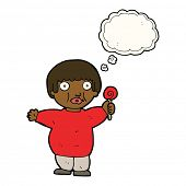 stock photo of obese children  - cartoon fat child with thought bubble - JPG