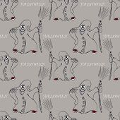 picture of broom  - halloween seamless pattern with smile ghost with broom - JPG