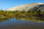 picture of quicksand  - Reflection in water of Te Paki Sand Dunes in Northland New Zealand - JPG