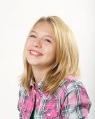 stock photo of  preteen girls  - Young pretty girl in studio over white background - JPG