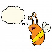picture of bee cartoon  - cartoon funny bee with thought bubble - JPG