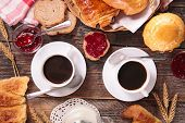 stock photo of breakfast  - breakfast with coffee cup and pastries - JPG