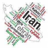 pic of tabriz  - Map of Iran and text design with major cities - JPG