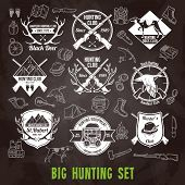 stock photo of hunt-shotgun  - Hunting club labels and icons chalkboard set isolated vector illustration - JPG