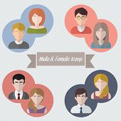 stock photo of male face  - Male and female faces in circle icons - JPG