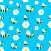 stock photo of bee cartoon  - cute cartoon bee seamless vector illustration pattern - JPG