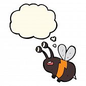 stock photo of bee cartoon  - cartoon frightened bee with thought bubble - JPG