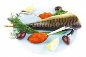 Постер, плакат: diet food red caviar and smoked mackerel fish with lemon and dill on blue plate isolated over whit
