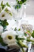 stock photo of wedding table decor  - Table setting with white flowers - JPG