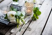 image of wedding table decor  - Table decor with white flowers - JPG