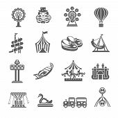 image of merry-go-round  - Amusement park grey icons set with clown balloon merry - JPG