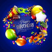 foto of birthday hat  - Vector birthday card with colorful balloons - JPG
