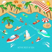 image of isometric  - Active rest at sea and beach vacation with umbrellas and chaise lounges isometric concept vector illustration - JPG