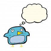 foto of bluebird  - cartoon bluebird with thought bubble - JPG