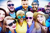 picture of huddle  - Friends Huddle Cheerful Union Summer Concept - JPG