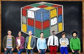 stock photo of cube  - Puzzle Cube Game Cube Shape Intelligence Concept - JPG