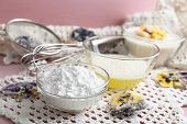 picture of candy  - Making candied violet flowers with egg whites and sugar - JPG