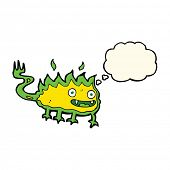 picture of demon  - cartoon little fire demon with thought bubble - JPG
