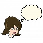 picture of annoyance  - cartoon annoyed woman with thought bubble - JPG