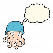 foto of crazy hat  - cartoon alien head wearing hat with thought bubble - JPG