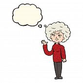 foto of annoyance  - cartoon annoyed old woman waving with thought bubble - JPG