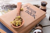 pic of roughage  - Different dried herbs and books on table close up - JPG