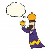 picture of wise  - one of the three wise men with thought bubble - JPG