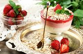 picture of strawberry  - Dessert with fresh strawberry - JPG