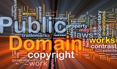 Background concept wordcloud illustration of public domain work  glowing light