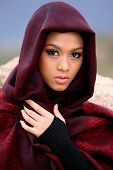 image of arabic woman  - Beautiful Muslim girl wearing traditional clothing  - JPG