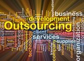 Software package box Word cloud concept illustration of business outsourcing