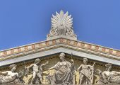 image of socrates  - details from the academy of athens in Greece - JPG