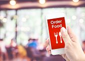 Hand Holding Mobile With Order Food With Blur Restaurant Background, Order Food Onine Business Conce poster