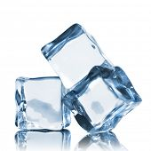 image of cube  - ice cubes isolated on white - JPG