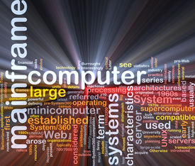 stock photo of supercomputer  - Software package box Word cloud concept illustration of mainframe computer - JPG