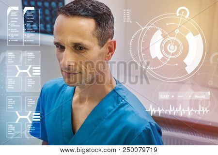 poster of Calm Doctor. Experienced Professional Doctor Looking Calm And Thoughtful While Being At Work