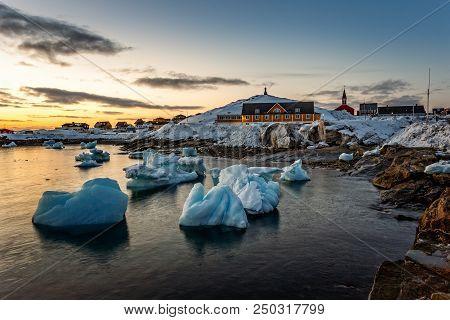 Nuuk City Old Harbor Sunset